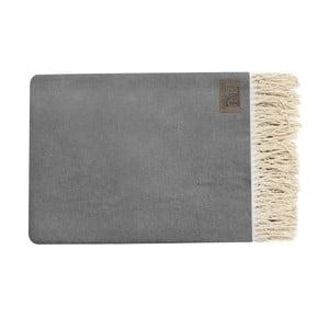 Sivý bavlnený pléd Pure, 130x170cm