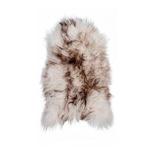 Hnedo-biela ovčia kožušina s dlhým vlasom Ice, 100 x 60 cm