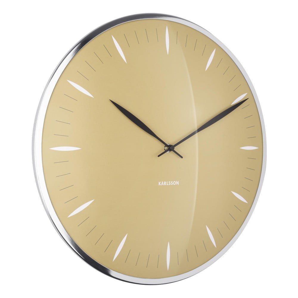 Horčicovožlté sklenené nástenné hodiny Karlsson Leaf, ø 40 cm