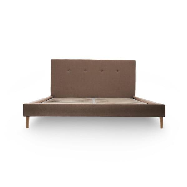 Svetlohnedá posteľ VIVONITA Kent 140x200cm, prírodné nohy