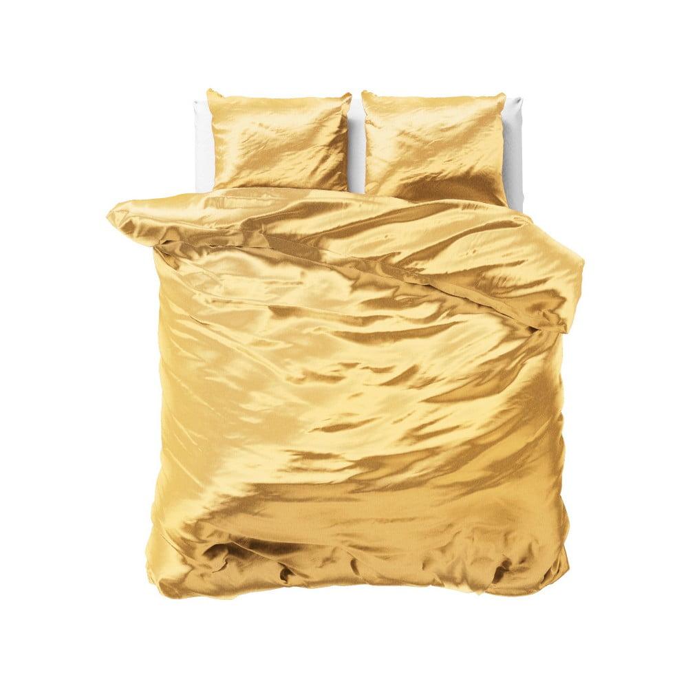 Žlté obliečky zo saténového mikroperkálu na dvojlôžko Sleeptime, 200 x 220 cm