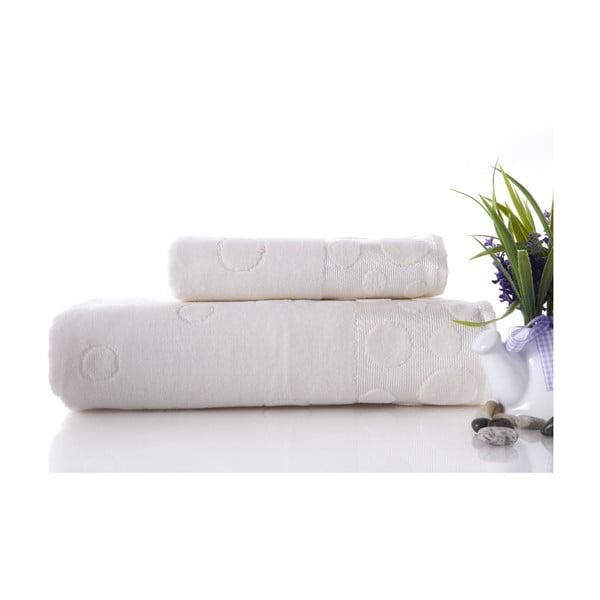 Sada uteráka a osušky Tropical Ecru, 70x140 a 50x90 cm