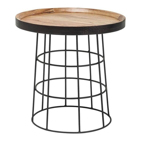 Čierno-hnedý odkladací stolík Kare Design Country Life, ⌀53cm