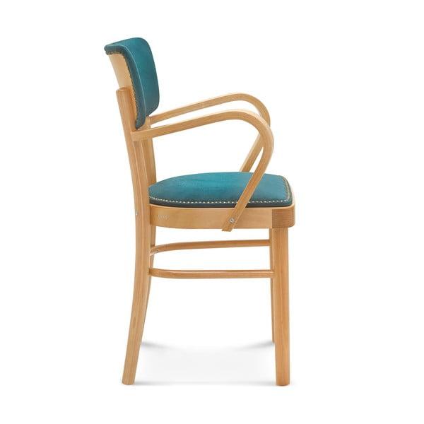 Drevená stolička s modrým čalúnením Fameg Lone