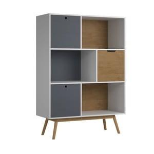 Biela knižnica z borovicového dreva s kontrastnými zásuvkami SOB Van