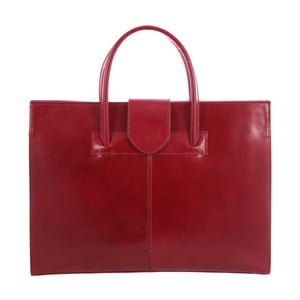 Červená kožená taška Chicca Borse Paola