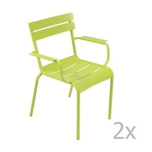 Sada 2 jasnozelených stoličiek s opierkami na ruky Fermob Luxembourg
