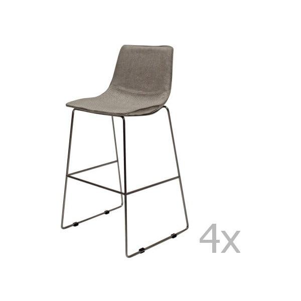 Sada 4 sivých barových stoličiek Canett Delta