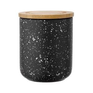 Čierna keramická dóza s bambusovým vekom Ladelle Speckle, výška13 cm