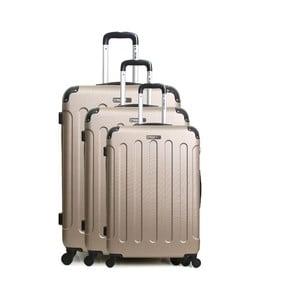 Sada 3 světle béžových cestovných kufrov na kolieskách Bluestar Vanity Champagne