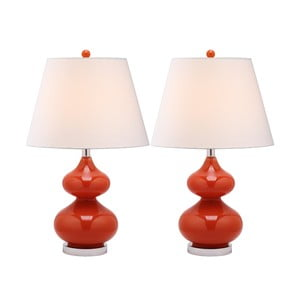 Sada 2 stolových lámp s červenou základňou Safavieh Gabriel