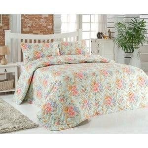 Sada prešívanej prikrývky na posteľ a dvoch vankúšov Adalise Mint, 200x220 cm