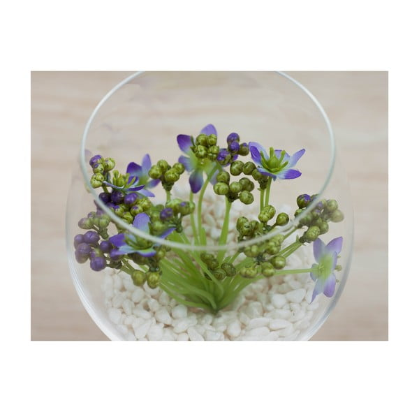 Kvetinová dekorácia od Aranžérie, pohár s fialovým kvietkom