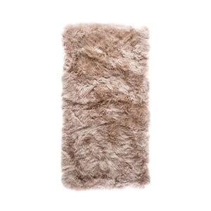Svetlohnedý obdĺžnikový koberec z ovčej vlny Royal Dream Zealand, 140×70cm