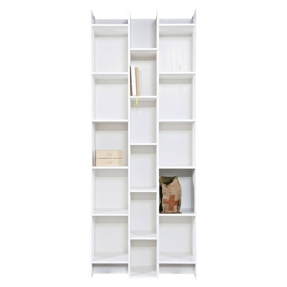 Biela knižnica WOOOD Grenen, základný modul