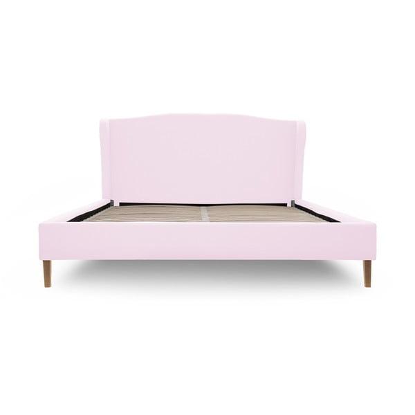 Pastelovoružová posteľ s prírodnými nohami Vivonita Windsor 140x200cm