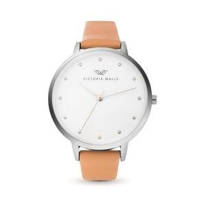 Dámske hodinky s hnedým koženým remienkom Victoria Wall Mist
