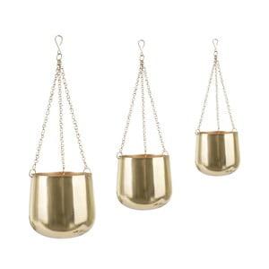 Sada 3 závesných železných kvetináčov v zlatej farbe PT LIVING Cask