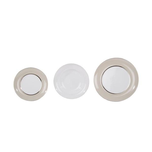 Sada 18 porcelánových tanierov Ramponi Pearl Gray