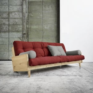 Rozkladacia sofa Indie Natural, Passion Red/Granite Grey