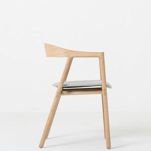 Jedálenská stolička z masívneho dubového dreva s modrosivým sedadlom Gazzda Muna