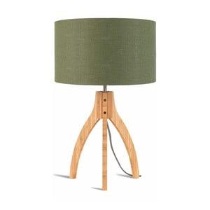 Stolová lampa so zeleným tienidlom a konštrukciou z bambusu Good&Mojo Annapurna