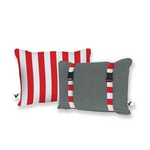 Sivý obojstranný plážový vankúš Origama Red Stripes
