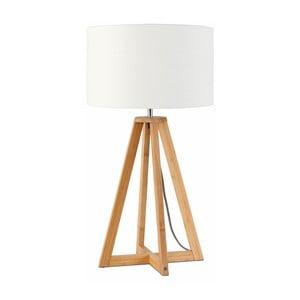 Stolová lampa s bielym tienidlom a konštrukciou z bambusu Good&Mojo Everest