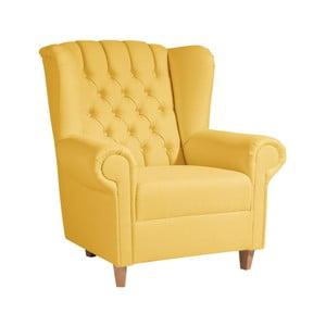 Žlté kreslo ušiak Max Winzer Vary Leather Corn