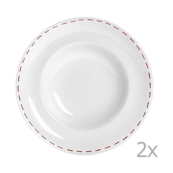 Sada 2 tanierov na cestoviny Sophie Stitch 30.5 cm, červená