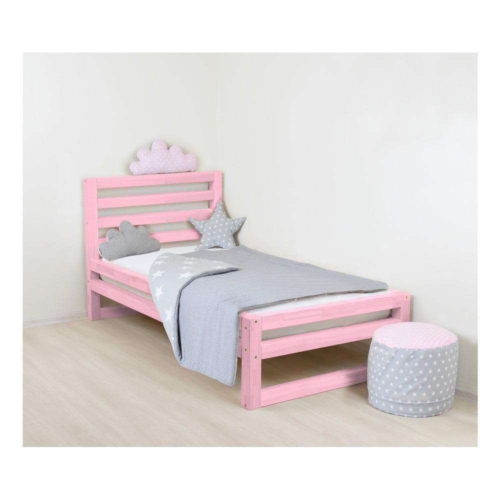 Detská ružová drevená jednolôžková posteľ Benlemi DeLu×e, 160 × 70 cm