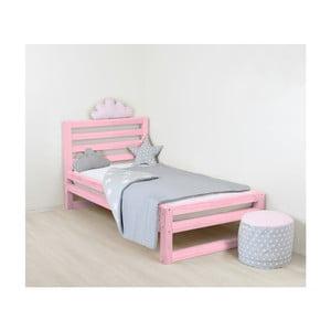 Detská ružová drevená jednolôžková posteľ Benlemi DeLu×e, 180 × 90 cm