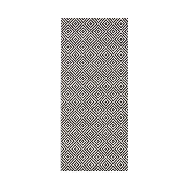 Čierny behúň vhodný aj do exteriéru Karo, 80×200 cm