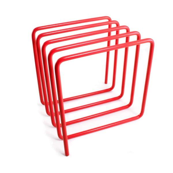 Červený stojan na časopisy Magazine Rack