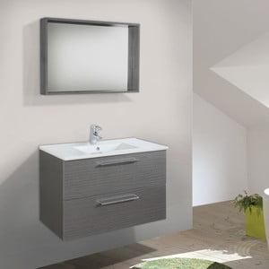 Kúpeľňová skrinka s umývadlom a zrkadlom Giro, odtieň sivej, 70 cm