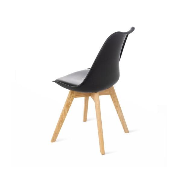 Čierna stolička s bukovými nohami loomi.design Retro
