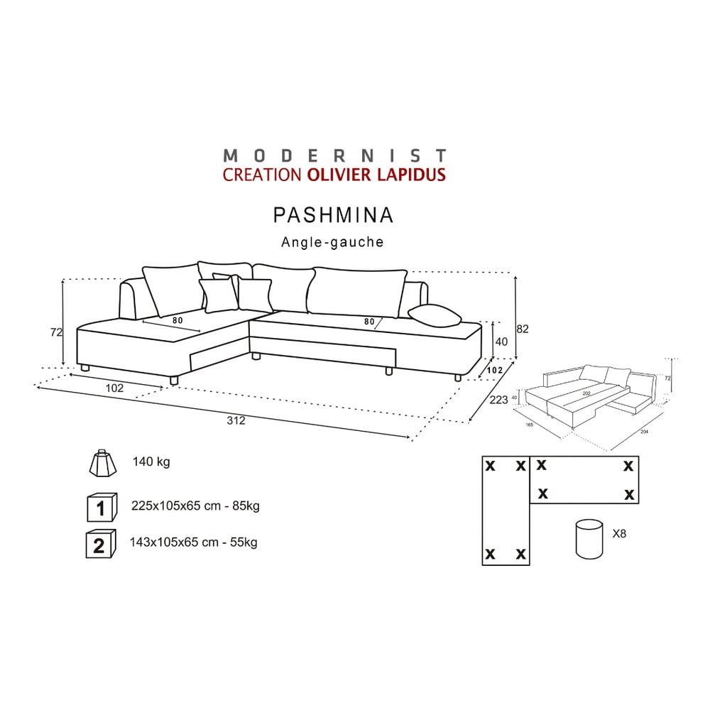 modr rozkladacia pohovka modernist pashmina av roh bonami. Black Bedroom Furniture Sets. Home Design Ideas