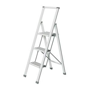 Biele skladacie schodíky Wenko Ladder Alu, 127 cm