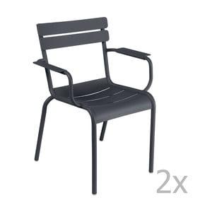 Sada 2 antracitových stoličiek s opierkami na ruky Fermob Luxembourg