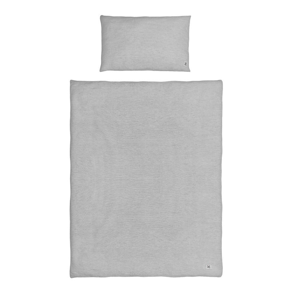 Sivé detské ľanové obliečky BELLAMY Stripes, 100 × 135 cm
