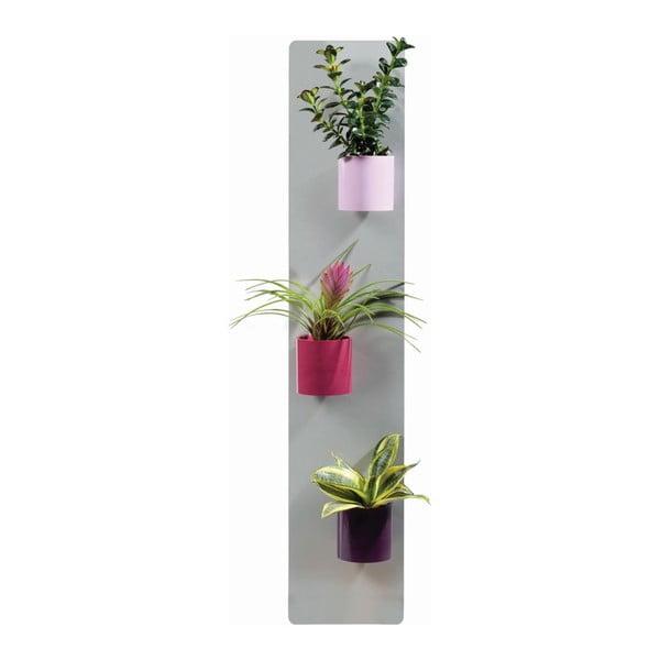Podstavec na magnetické kvetináče, sivý, 14x70 cm