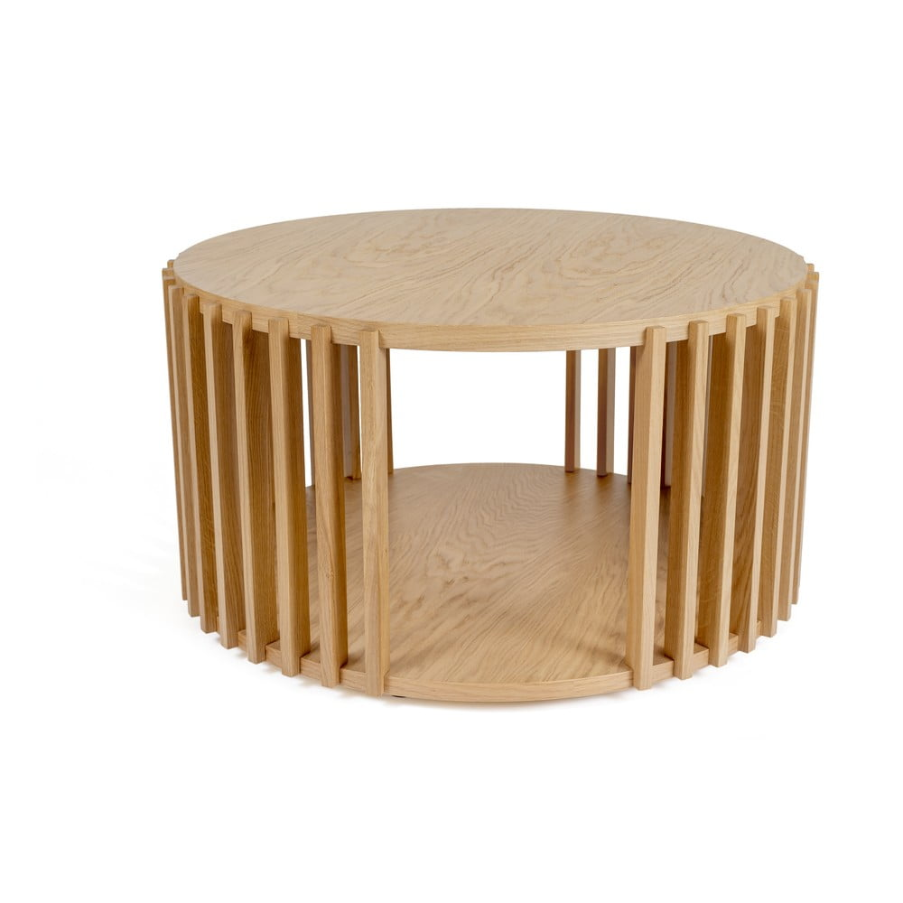 Odkladací stolík z dubového dreva Woodman Drum, ø 83 cm