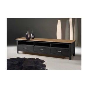 Sivý TV stolík zborovicového dreva s 3 zásuvkami SOB Jayde