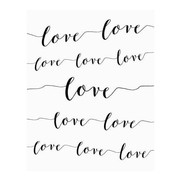Plagát v drevenom ráme Love love love, 38x28 cm