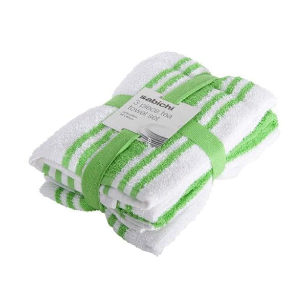 Sada 3 zeleno-bielych utierok Sabichi