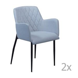 Sada 2 modrých jedálenských stoličiek s opierkami DAN– FORM Rombo