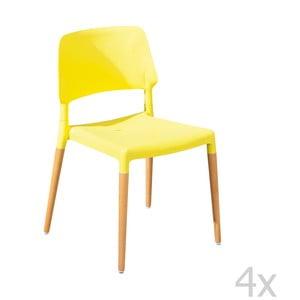 Sada 4 jedálenských stoličiek Molde Yellow