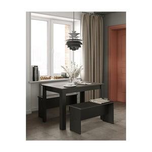 Set čierneho jedálenského stola a 2 lavíc s doskou v dekore betóne Symbiosis Nice