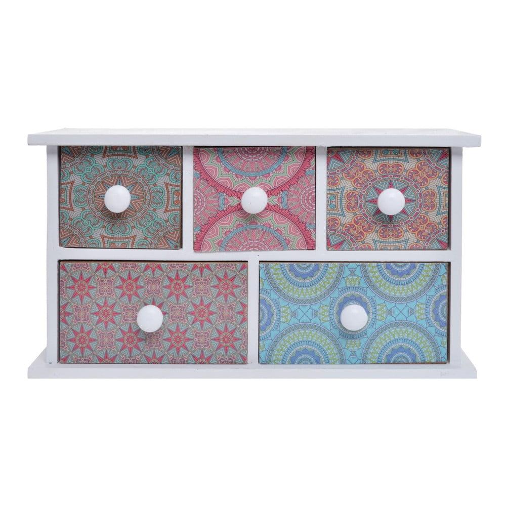 Drevená skrinka s 5 zásuvkami Ewax Parejo, 24 × 9 × 13 cm