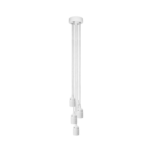 Závesné svietidlo s 5 bielymi káblami a bielou objímkou Bulb Attack Uno Group